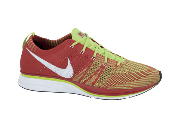 Nike Flyknit University Red Electric Green-White